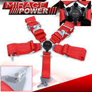 3 Red 5 Point Camlock Harness Racing Seat Belt Quick Release Shoulder Straps