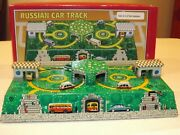 Schylling Russian Car Track Tin Toy Wind Up With Box