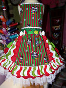 Mickey And Minnie Mouse Christmas Vintage Fabric Disney Girls Dress Size 5t