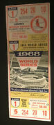 Full Nice Bob Gibson 17 Strikeouts 1968 World Series Ticket St Louis Cardinals