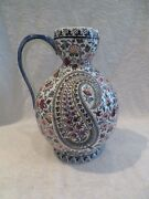 Important Pitcher To Cider Faience Gien Paisley 1960 Large Pitcher