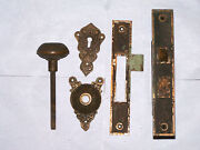 Large Antique Mortise Door Lock Strike, Knob, Backplate, Key Hole Cover Very Orn