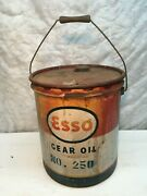 Vintage Esso Gear Oil Can 5 Gallon Wood Handle 1950s Garage Gas Oil Advertising