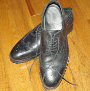 Mike Konos Wingtip Leather Oxford Shoes Italy Black Size10
