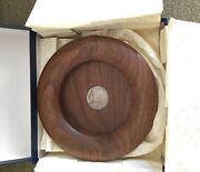 Rare David Linley Walnut Bottle Coaster With Sterling Silver Disc