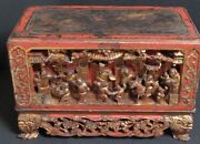 Antique Autel Box Wooden Carved Chinese