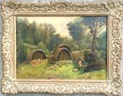 Antique Native American Woodland Village Oil Painting On Board - Circa 1800's