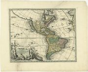 Antique Map Of America By Weigel 1710