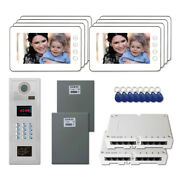 Multi Tenant Entry Security Video Intercom System Kit With 8 7 Color Monitors