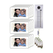 Door Access 2-wire Multifamily Video Intercom System Kit With 12 Color Monitors