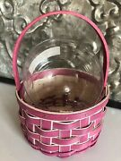 New Longaberger2018small Little Easter Basketmagenta Pink And Whiteprotector