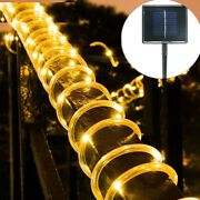 Outdoor Rope Tube Light String Copper Wire Solar Garland Fence Light 12m 100