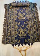Nice Antique Blue And Gold Damask Asian Influence Hammock With Original Hardware