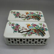 Chinese Jingdezhen Famille-rose Porcelain Pretty Flowers Birds Paperweight Pair