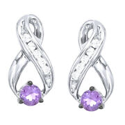 Amethyst And Diamond Infinity Stud Earrings 14k White Gold Over Sterling Silver