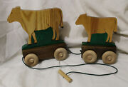 Wood Cow Calf Pull Toy Handcrafted Woodburning Paint Country Farm Vermont Made