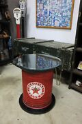 Unique Vintage Industrial Texaco Oil Can Side Repurposed Side / End / Lamp Table