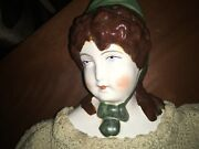 """Vintage China Head Style Doll 21.5"""" Molded Brown Hair"""