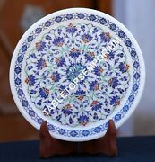 8 Antique Marble Serving Plate Precious Mosaic Inlay Christmas Eve Decor H1954