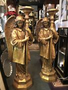 Pair 48 Vintage Fiberglass Angel Candle Stands Newell Post Figure Christmas
