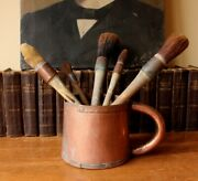 Antique French Rustic Copper Pot And Paint Brushes. Measure Mug Home Decor Display