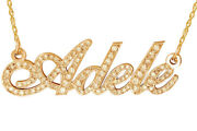 14k Yellow Gold Name Necklace Diamond Studded Letters Hanukkah Holy Day Sale