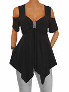 Ts@ Funfash Women Plus Size Black Off Shoulders Blouse Top Shirt New Made In Usa