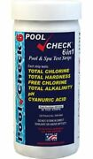 Pool Check 6 In 1 Test Strips Bottle Of 50 Tests - Incl. 12 Pk