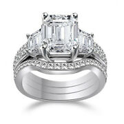 3.10ct Radiant Engagement Ring W/2 Matching Bands In Gold Over Sterling Silver