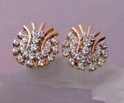 0.92ct Natural Round Diamond 14k Solid Rose Gold Stud Push Back Earring