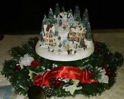Thomas Kinkade Home For The Holidays Christmas Floral Wreath Village Gently Used
