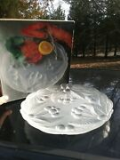 Vintage Mikasa 12 Frosted Crystal Glass Buffet Platter Bountiful Cherries Box