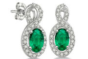 5x3 Mm Oval Cut Emerald And 1/5 Ctw Diamond Earrings 14k White Gold Holiday Sale