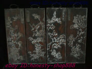 Old Chinese Huali Wood Carving Flower Bird Folding Screen Wall Hanging Plate Set