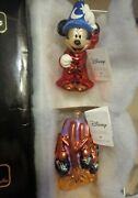 Christopher Radko Fantasia Sorcecer Apprentice Mickey Mouse And Broom 2 Ornaments