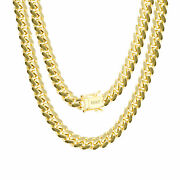 10k Yellow Gold Solid Mens 7mm Miami Cuban Link Chain Necklace Box Clasp 20-30
