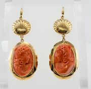 Red Sea Coral Earrings Cameo 18k Gold Shell Vintage