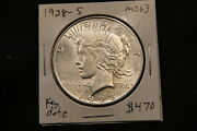 1928-s United States Silver Peace Dollar Ms63 Choice Uncirculated Better Date