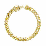 14k Yellow Gold Solid Mens 8mm Miami Cuban Link Chain Bracelet Box Clasp 7.5-9