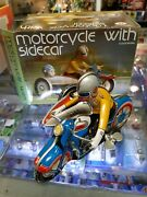 Clockwork Wind Up Motorcycle W/ Sidecar + Orig Box And Instruction Works Ms709