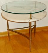 1960s Mid-century Mcm Brass Marble Glass 2 Tiered Round Table Italy