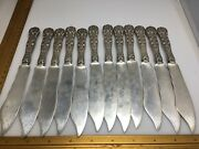 12 Sterling Silver English King Silver Fish Knives Knife Old Mark Solid