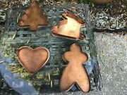 4 Large Vintage Copper Cookie Cutters Handmade Cape Cod Copper Works