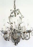 Rare Antique Italian Tole Flower Basket Silver Gilt Chandelier