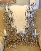 Antique Rare Pair Italian Crystal Beaded Wall Sconces Simply Gorgeous