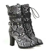 Sexy Women Serpentine Round Toe Lace Up High Heels Ankle Boots Shoes Outdoor Dat