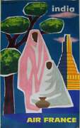 Original 1963 Air France Poster 'india' By Guy Georget