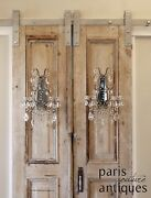 Pair Antique Italian Beaded Mirrored Wall Sconces Gorgeous