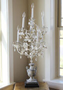 Antique French Table Chandelier Girandole Crystal Prisms Stunner Shabby Chic