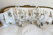 Huge Italian Pair Lily Made In Italy Tole Sconces Shabby Chic Beautiful